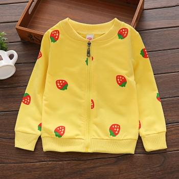 Lovely Strawberry Print Stand Collar Jacket for Toddler Girl and Girl