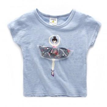 Pretty Cartoon Applique Short-sleeve Tee for Girl