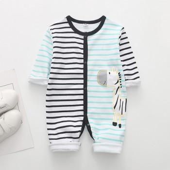 Baby's Cute Zebra Applique Striped Jumpsuit