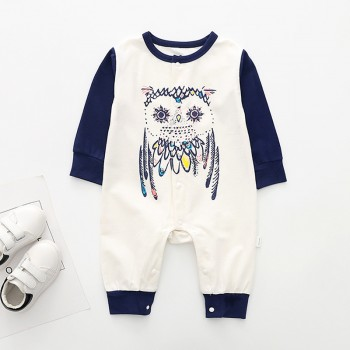 Cute Owl Print Long-sleeve Jumpsuit in White for Baby Boy