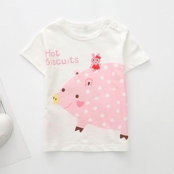 Cute Piggy Print Short-sleeve T-shirt for Baby Girl and Girl