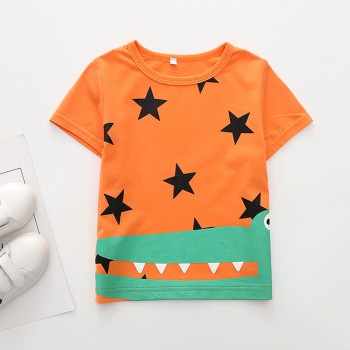 Trendy Star and Crocodile Print Short-sleeve T-shirt in Orange for Toddler Boy and Boy