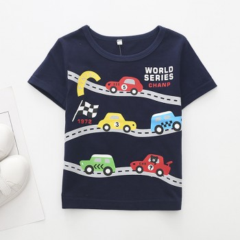 Solid Stylish Cars Print Short Sleeve Tee for Toddler Boys