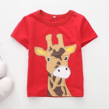 Solid Cute Giraffe Applique Short Sleeves Tee for Toddler Boy and Girl