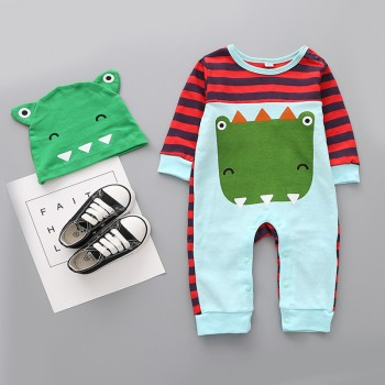 2-piece Cute Dinosaur Print Striped Long-sleeve Jumpsuit and Hat Set for Baby Boy