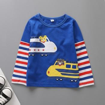 Chic Train Print Striped Long-sleeve Tee for Toddler Boy and Boy