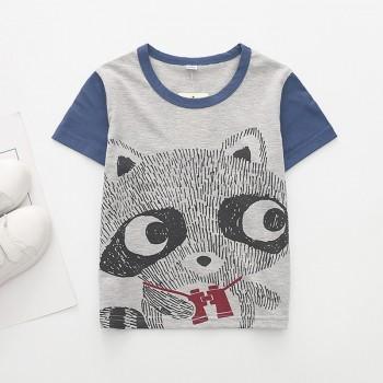 Cute Raccoon Print Short-sleeve T-shirt in Grey for Baby Boy and Boy