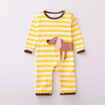 Yellow Striped Dog Print Long Sleeves Jumpsuit for Baby Boy