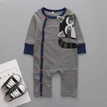 Cute Raccoon Print Long-sleeve Jumpsuit in Dark Grey for Baby Boy
