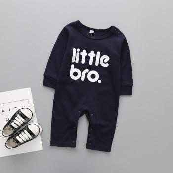 Trendy Letter Print Long-sleeve Jumpsuit in Black for Baby Boy