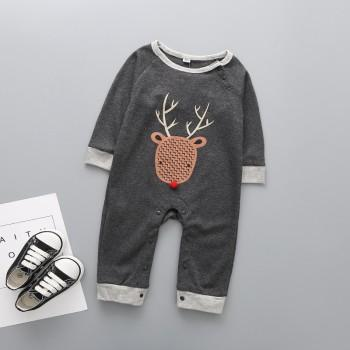 Adorable Deer Print Long-sleeve Jumpsuit for Baby Boy