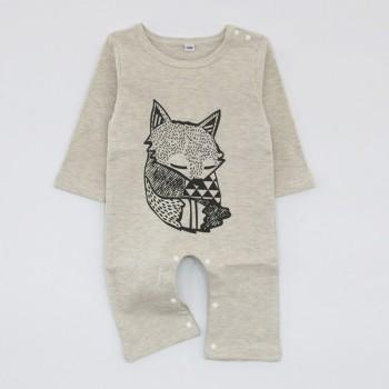 Lovely Fox Print Solid Long-sleeve Jumpsuit for Baby