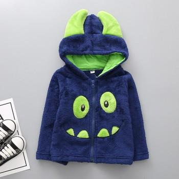 Cute Monster Appliqued Long-sleeve Hooded Coat for Baby Boy and Boy