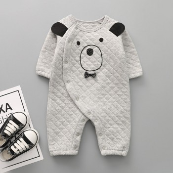 Lovely Bear Print Suede Long Sleeves Jumpsuit for Baby and Toddler Boys