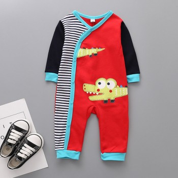 Cute Alligator Print Color Blocking Long-sleeve Jumpsuit for Baby