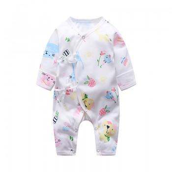 Pretty Cat Print Long Sleeves Kimono Jumpsuit for Baby Girl