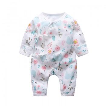 Adorable Floral Long Sleeves Kimono Jumpsuit for Baby Girl