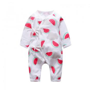 Fresh Watermelon Patterned Long-sleeve Jumpsuit in White for Baby