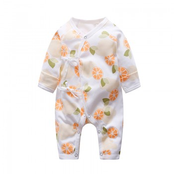Fresh Orange Patterned Long-sleeve Jumpsuit for Baby