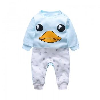Cute Duck Print Color Blocking Jumpsuit for Baby Boy