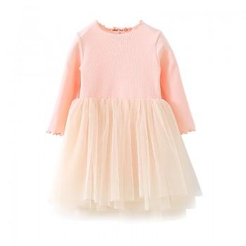 Trendy Solid Tulle Splicing Long-sleeve Dress for Toddler Girl and Girl