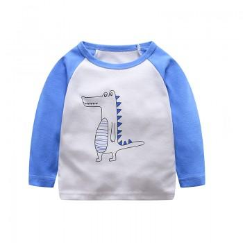 Cute Color Blocked Little Dino Print Long-sleeve Tee for Baby and Toddler Boy