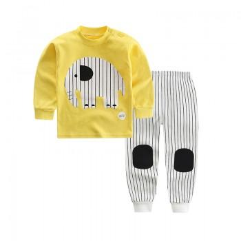 2-piece Cute Elephant Print Long-sleeve  Top  and Striped Pants Set for Baby and Kid