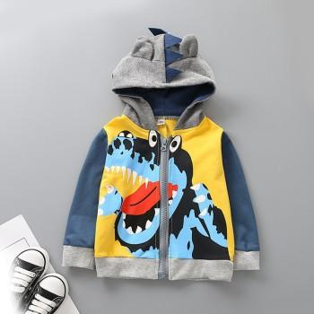 Trendy Tyrannosaurus Rex Print Long-sleeve Hooded Jacket for Baby Boy and Boy
