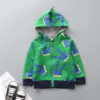 Trendy Crocodile Patterned Long-sleeve Hooded Jacket for Baby and Kid
