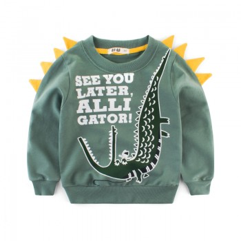 Trendy Crocodile Print Pullover in Green for Baby Boy and Boy