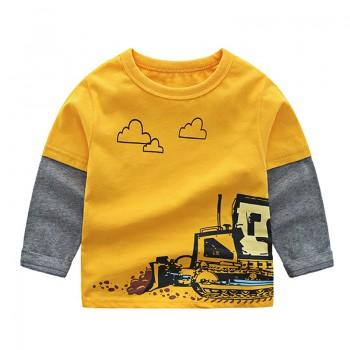 Faux-two Stylish Excavator Print Long-sleeve Top