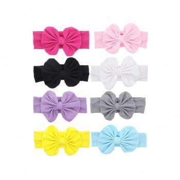 8-pack Bowknot Hairband in Different Color for Baby Girls