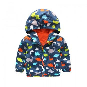 Colorful Dinosaur Print Hooded Jacket for Baby and Toddler Boy