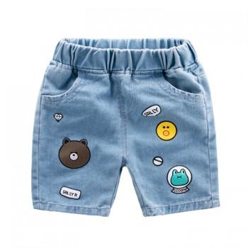 Cute Bear and Frog Print Denim Shorts in Blue for Toddler Boy and Boy