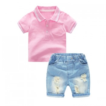 Fashion Pink Short-sleeve Polo Shirt and Ripped Denim Shorts Set for Toddler Boy