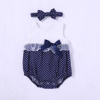 Trendy Polka Dots Bowknot Decor Sleeveless Bodysuit and Headband Set for Baby Girl
