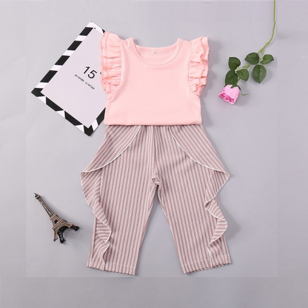 Pretty Solid Flutter-sleeve Top and Striped Pants Set for Baby Girl and Girl