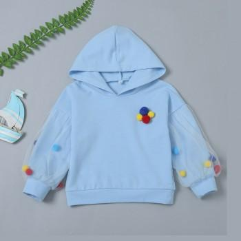 Casual Pompon Decor Long-sleeve Hoodie for Baby and Kid