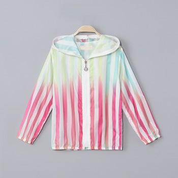 Girl's Colorful Gradient Striped Lightweight Hooded Coat