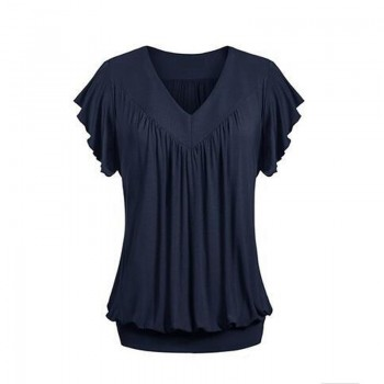 Solid Pleated V-neck Short Sleeves Tee for Women