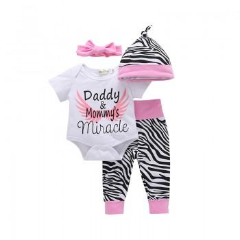 4-piece Angle Wing Printed Short Sleeves Bodysuit, Zebra Pants, Hats and Headband Set for Baby Girls