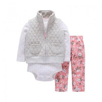 3-piece Lovely Bodysuit, Vest and Floral Pants Set for Baby Girl
