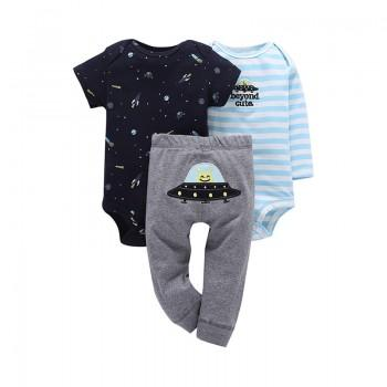 3-piece Stripes UFO Bodysuit and Pants Set