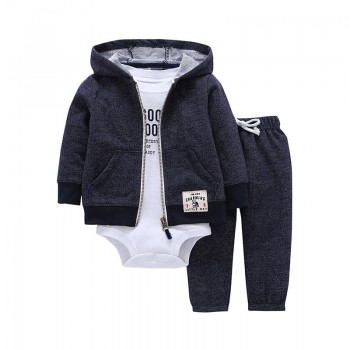 3-piece Lovely Bodysuit Hoodded Coat and Pants Set for Baby