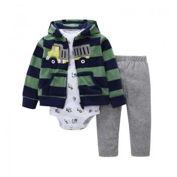3-piece Cool Car Print Bodysuit Coat and Pants Set for Baby Boys