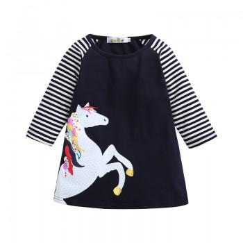 Lovely Horse Printing Long Sleeves Dress for Girls