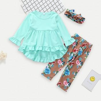 3-piece Solid Ruffled Top Floral Pants and Headband for Baby Girl