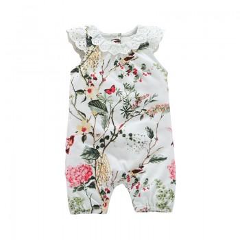 Pretty Flower Print Ruffled Cap-sleeve Jumpsuit for Baby Girl