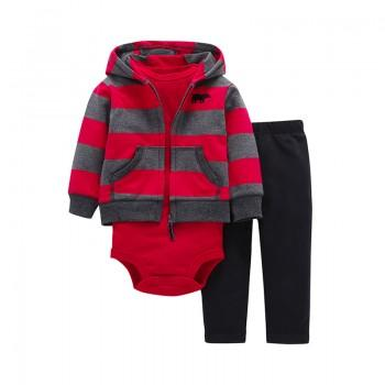 3-piece Solid Romper Striped Hooded Coat and Black Pants for Baby Boy