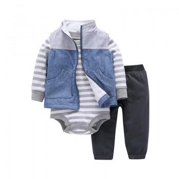 3-piece Striped Long Sleeves Romper Sleeveless Coat and Pants for Baby Boy